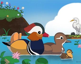 Mandarin Duck Family 7 x 5 art print
