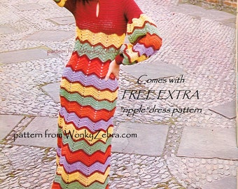 Crochet Dress Pattern Vintage PDF 095 BoHo ZigZag Maxi Dress from WonkyZebra