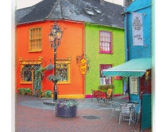 Neighborhood Cities in Ireland - Computer Art Enhanced Photography Fine Art Creation - Colorful Vivid Orange and Irish Green Wall Decor
