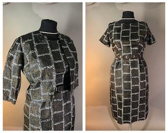 50s dress 1950s vintage PLUS SIZE PRINT black brown mcm squares 2pc hourglass dress and jacket
