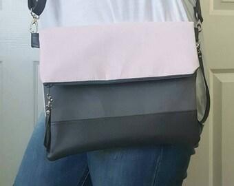 Blush Pink Crossbody Bag, Crossbody Purse, Gray Crossbody, Crossbody Strap, Faux Leather, Clutch Bag, Crossbody Handbag, Mothers day gift