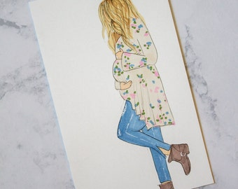 Custom Illustrated Maternity/Pregnancy Portrait