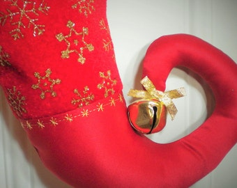 Beaded Red Velvet Christmas Stocking with Gold Glitter Snowflakes and Curly Elf Toe