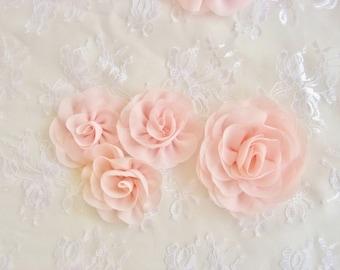 """Blush Pink Chiffon Flowers -  2.25"""" Blush Pink Hand-dyed Blush Flowers Wedding Sashes, Bouquets Blush Chiffon Flowers"""