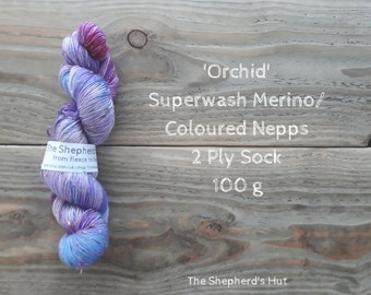 Superwash Merino/ Coloured Nepps 85/15   2 Ply Sock yarn 100 g 'Orchid'