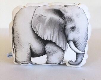 Elephant Stuffie, Baby Size. Animal Softie, Plush Soft Toy. Illustration by flossy-p.
