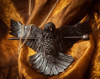 RAVEN leather HAIR CLIP barrette hairpin goth dark black decoration feathers steampunk victorian wings
