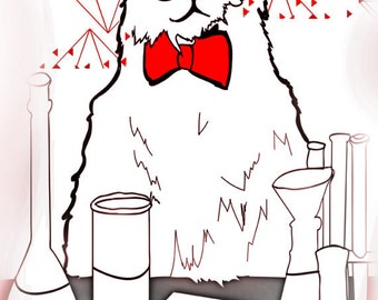 Chemistry Cat  CONTEMPORARY ART PRINT