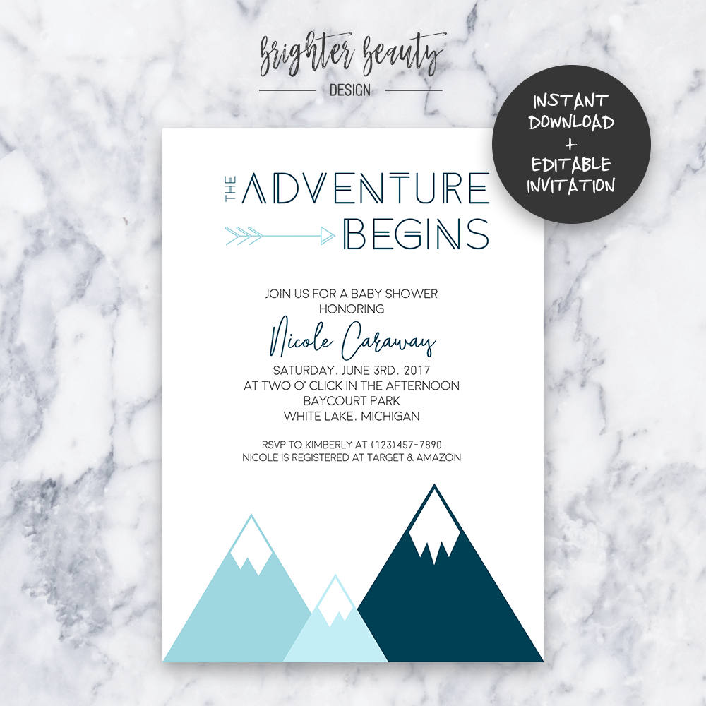 Teal Adventure Baby Shower Invitation | INSTANT DOWNLOAD | Editable ...