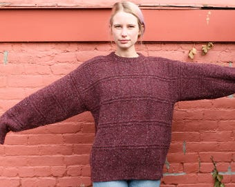 Cozy Burgundy Speckled Sweater