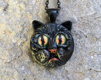 Cat Necklace, Black Cat, Round Pendant, Handmade Jewelry, Long Necklace, Kitty Necklace, Feline Jewelry, Sculpted Necklace