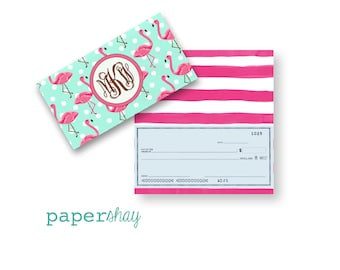 Checkbook Cover, Monogrammed Checkbook Cover, Personalized Checkbook Cover, Custom Checkbook Cover, Vinyl Checkbook Cover, FLAMINGOS