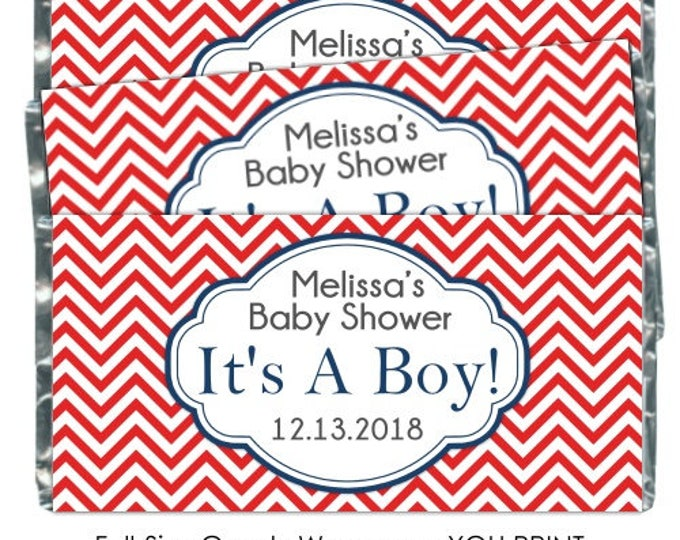 PRINTABLE Baby Shower Candy Wrappers - Red Chevron, Nautical, Chocolate Bar Candy Wrappers -  new baby, baby shower