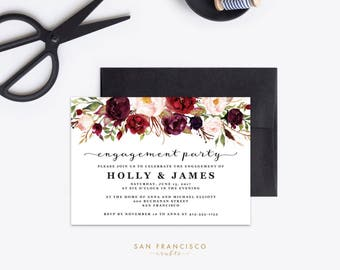 Engagement Party Invitation INSTANT DOWNLOAD |  Editable Engagement Party Invite Template | red, floral | Holly Collection | Printable PDF