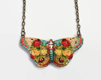 Butterfly Rose Necklace, Flower Collage Jewelry, Primary Colours, Vintage Style Wood Jewelry
