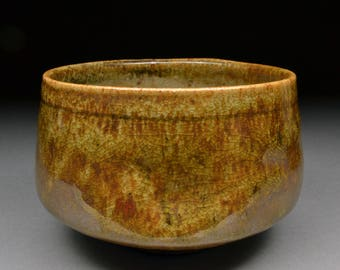 Twice Fired Amazing Handmade Stoneware Matcha Chawan Tea Bowl Glazed with Alberta Slip and Carbon Trap Shino