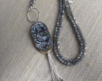 ABALONE and LABRADORITE NECKLACE,  Tassel Necklace, Labradorite , Abalone, Sterling Silver