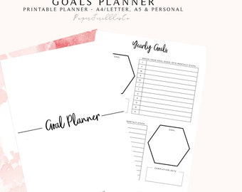 Goal Planner PRINTABLE, 2018 Planner, Productivity Planner, Goal Setting, 2018 Goals, Project Planner, Habit Tracker, Success Planner