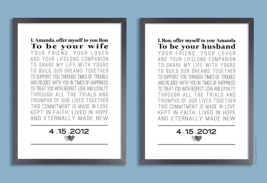 Custom wedding vows set of two prints personalized print zoom stopboris Gallery