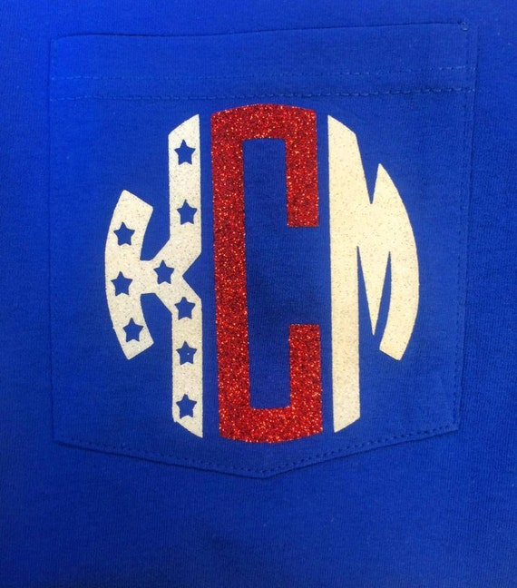 Monogram 4th Of July Pocket Tee