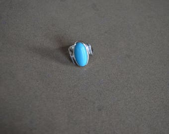 Free shipping!  Silver ring 925 Silver and turquoise years 80 7- 7.5