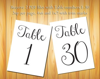 Instant Download Table Numbers 1-30, Black Script - DIY Printable Table Numbers for Wedding or other event