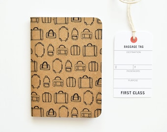 Pocket Travel Journal, Small Travel Notebook with Luggage Illustration   Hand Illustrated Traveler's Journal