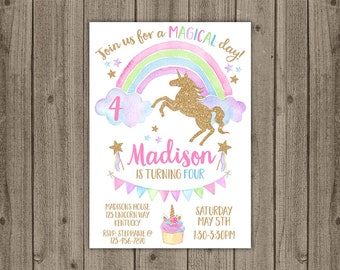 Unicorn Birthday Invitation - Rainbow Birthday Invite - Unicorn Party Invite - Magical Birthday Invitation - 5x7 JPG DIGITAL FILE