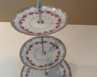 No. 258 Triple Tier China Stand, Tea Stand, Jewelry Stand presented by Country Rose de Blancheville.  A lovely creation just for you.