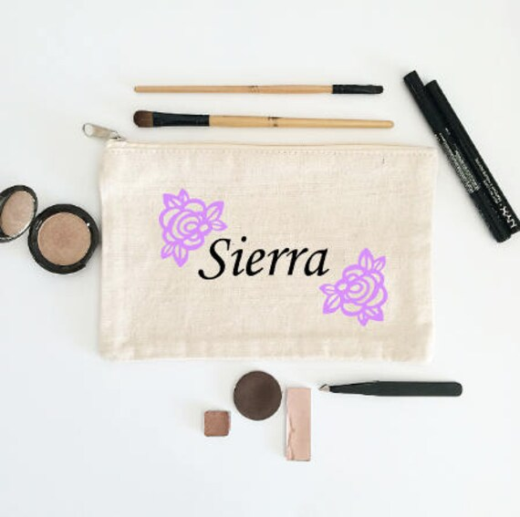 Custom Name Canvas Cosmetic Bag: Floral Makeup Bag, Your Name Here