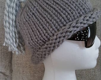 February special, beanie hat, hand knitted hat, tassel hat, rolled brim hat, gray winter hat, women's accessory