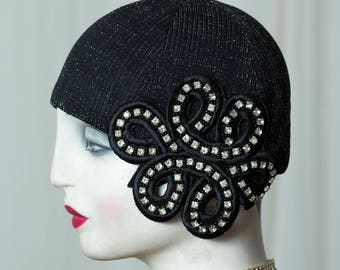 Exclusive 20s/20s cap/cap/Cloche/Headdress in vintage style, nice to the Charleston outfit, at every Flapper party the Looker!