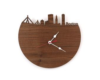 Wall Clock - Boston, Massachusetts Skyline - Large or Small Clock - Gift For Him - Modern Skyline Clock - Wall Art