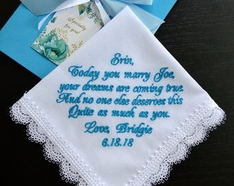 Embroidered wedding handkerchief for Bride from Maid of Honor Sister hanky Bridesmaid gift hankerchief Personalized Custom hankie to Bride