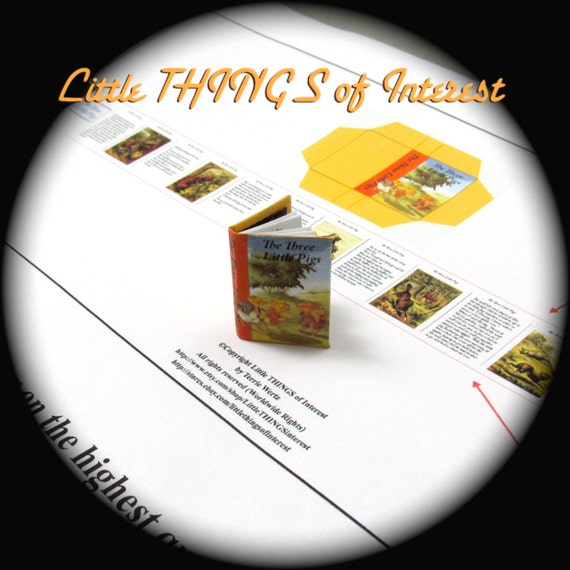 The THREE LITTLE PIGS Pdf Tutorial Printable Download 1:12 Miniature Dollhouse Scale Readable Illustrated Book Once Upon a Time Wolf Brick