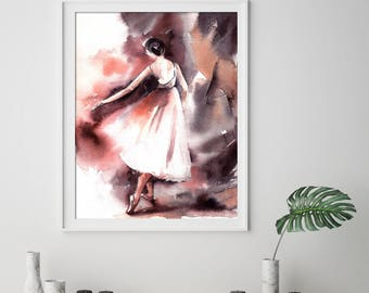 Ballerina Fine Art Print, Ballerina Print, Watercolor painting print, Ballet Dance Wall Art Print, Watercolor Print of Ballerina