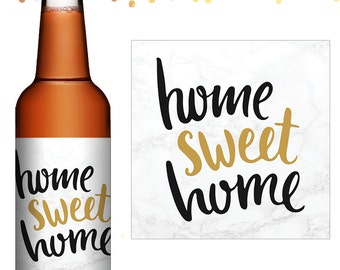 Housewarming Beer Labels - Custom Beer Label - Personalized Beer Label - New Home Beer Labels - House Warming Party Gift - Home Sweet Home