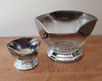 Silver Fade or Silver Ombre Large Bowl Chip and Dip Set made by Vitreon Queen's Lustreware in the 1960's in Brooklyn NY USA