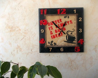 Wooden square wall clock, Analog clock, Hanging clock, Wall decor, Coffee, Black Red White