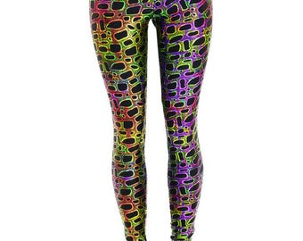 Poisonous Print Metallic High Waist Lycra Spandex Leggings Reptile Lizard Frog - 154433