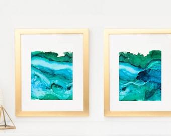 Diptych of Undercurrent Ventura Blue and Green Inks, Oceanscape, Ocean Art, Pair of prints