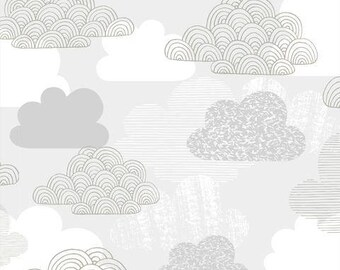 "55"" LAMINATE Light Gray Clouds Laminate ORGAINIC Cotton from Cloud 9 Fabrics"
