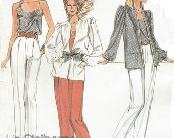 80s Liz Claiborne Womens Yoked Jacket Lined Camisole and Tapered Pants McCalls Sewing Pattern 7481 Size 12 Bust 34 FF Vintage Sewing Pattern