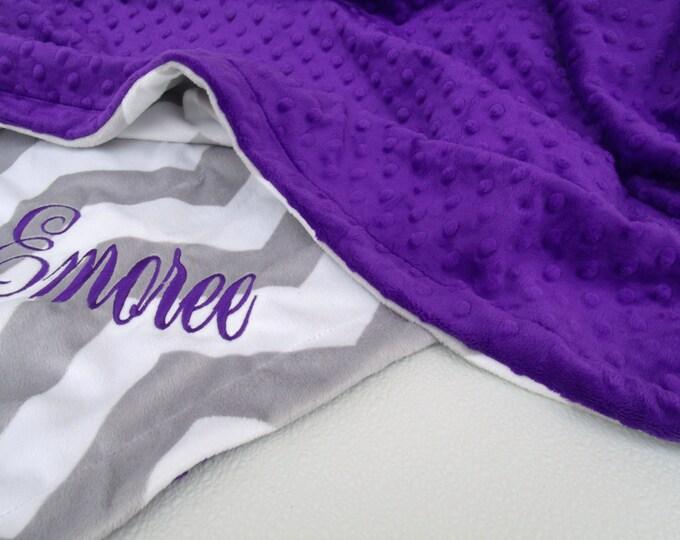 Gray Chevron and Purple Dot Minky Baby Blanket - for girl, toddler or teen