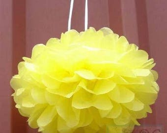 6x Yellow Tissue Paper Pom Poms Balls Flowers Wedding Christening Girls Birthday Party Baby Shower Bridal Shower Venue Hanging Decoration