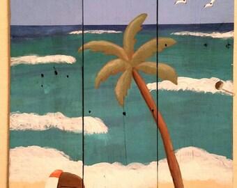 Beach Chair/Palm Tree/Flip Flops  Reclaimed Wood Painting