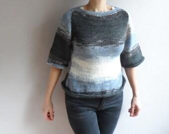 Women's Sweater, Gray Sweater, Crop Sweater, Knit Sweater, Short Top, Boho Blouse