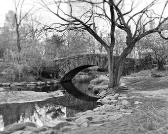Gapstow Bridge, Central Park, New York Photography, Black and White Print, Landscape, Nature, Romantic, NYC, Wall Art, Home Decor