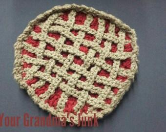 Cherry Pie Potholder, Potholder, Cherry Pie, Crochet potholder
