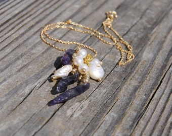 Freshwater Pearl and Raw Amethyst Cluster Necklace